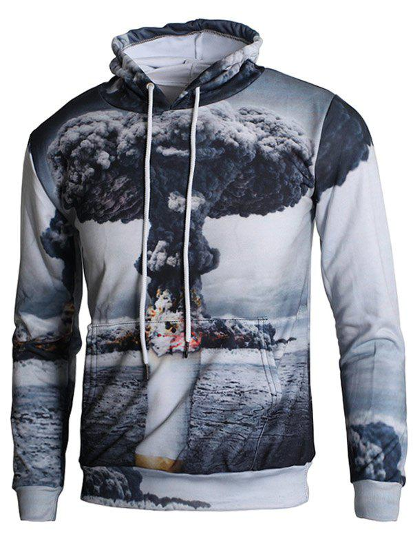 Long Sleeve 3D Mushroom Cloud Print Kangaroo Pocket Hoodie - CLOUDY GRAY S