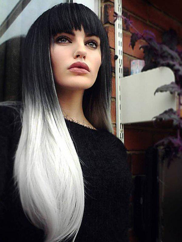 Long Full Bang Gradient Straight Synthetic Wig - multicolor