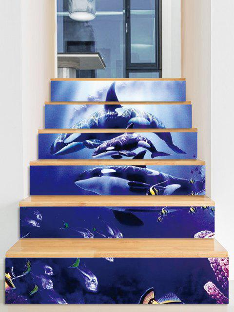 Dolphin Fishes Removable Stair Stickers - multicolor