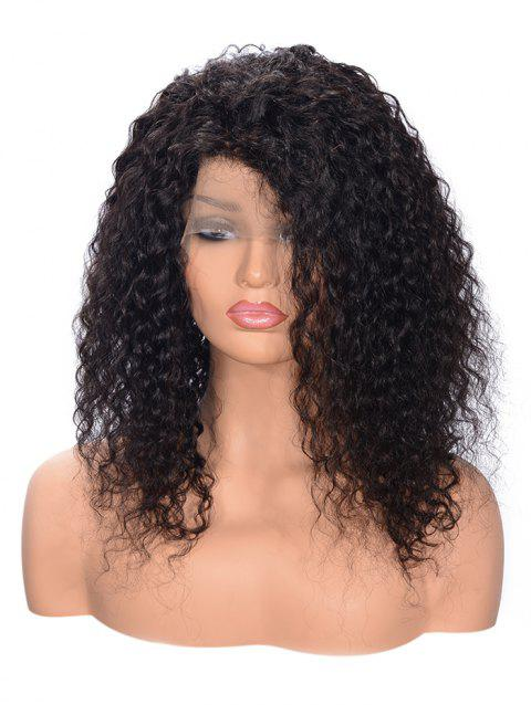 Free Part Shaggy Curly Lace Front Human Hair Wig - BLACK 8INCH