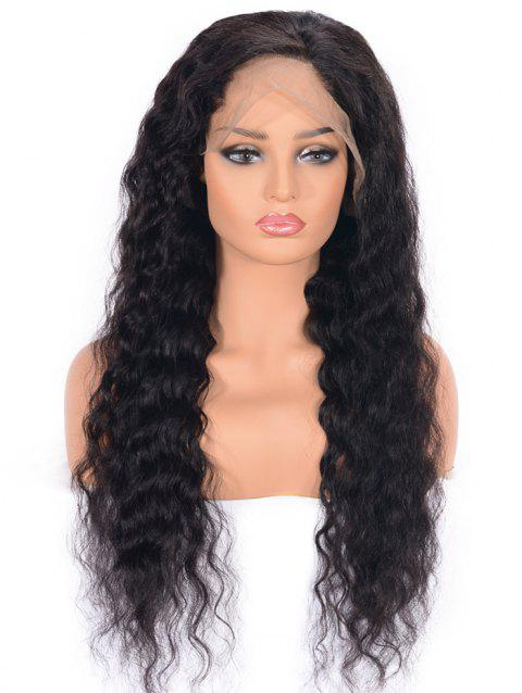 Medium Free Part Water Wave Lace Front Human Hair Wig - NATURAL BLACK 14INCH