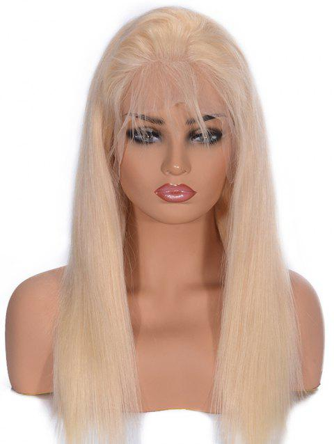 Free Part Straight Human Hair Lace Front Wig - BLONDE 12INCH