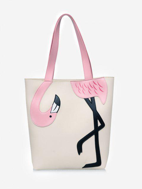 Flamingo Pattern Color Block Leisure Shoulder Bag - BEIGE