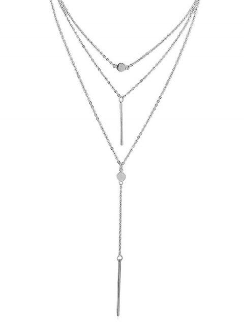 Pendant Layered Chain Necklace - SILVER