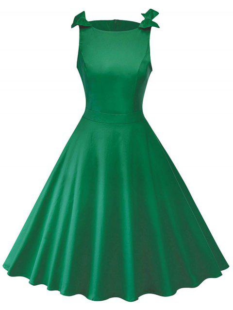 Round Neck Bowknot Insert Retro Dress - GREEN L