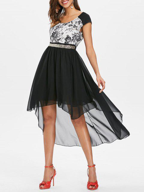 Flower Print Sequined Waist Asymmetrical Dress - BLACK M