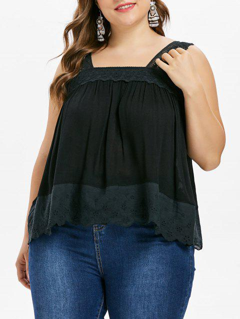 Plus Size Square Neck Tank Top - BLACK 1X