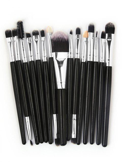 15 Pcs Ultra Soft Fiber Hair Foundation Eyeshadow Eyebrow Makeup Brush Collection - BLACK
