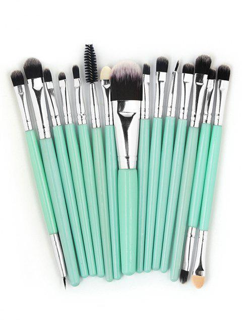 15 Pcs Ultra Soft Fiber Hair Foundation Eyeshadow Eyebrow Makeup Brush Collection - MACAW BLUE GREEN