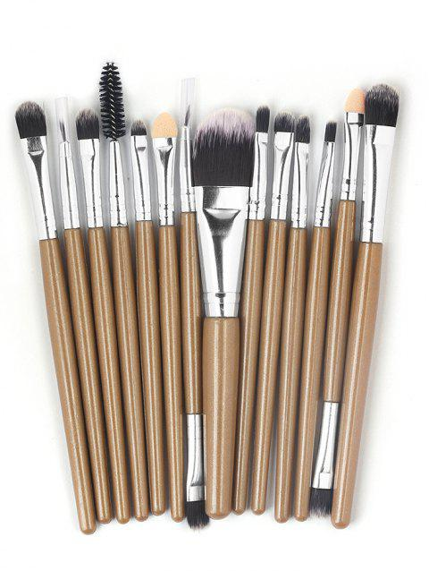 15 Pcs Ultra Soft Fiber Hair Foundation Eyeshadow Eyebrow Makeup Brush Collection - BROWN
