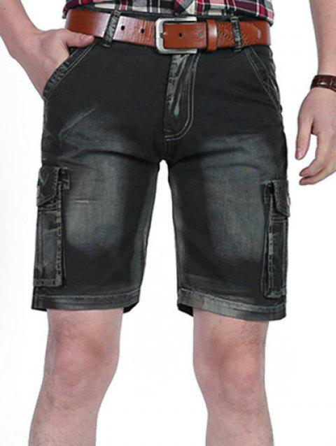 Zipper Fly Dyed Cargo Shorts - BLACK 38