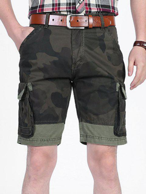 Camo Printed Six-pocket Cargo Shorts - CAMOUFLAGE GREEN 34