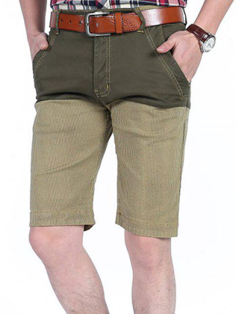 Patchwork Slim Stripe Print Pockets Casual Shorts - LIGHT KHAKI 38