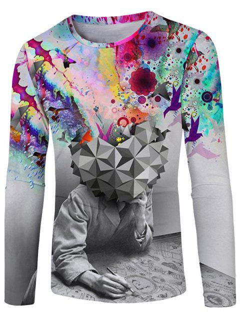 Casual Colorful Paint Men Thinking Print T-shirt - GRAY 2XL