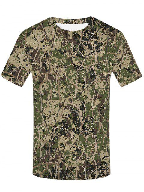 Digital Camouflage Print Round Neck T-shirt - ARMY BROWN L