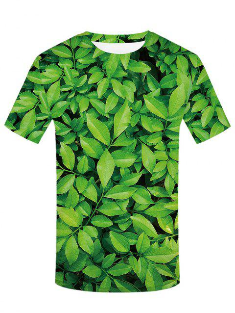 3D Leaves Print Round Neck T-shirt - SPRING GREEN S