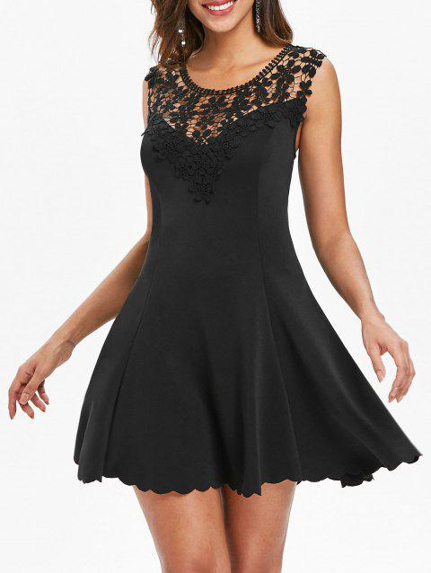 Mini Lace Trim Skater Dress - BLACK L