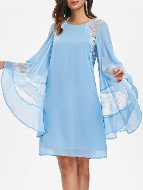 Bell Sleeves Lace Panel Chiffon Dress - LIGHT SKY BLUE 2XL