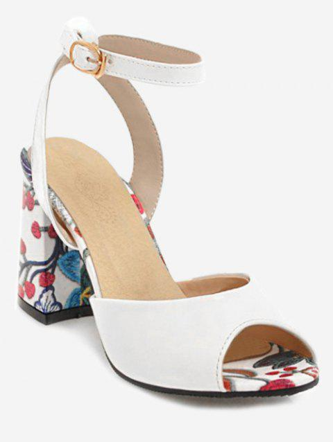 Plus Size Ankle Strap Chunky Heel Floral Sandals - WHITE 41