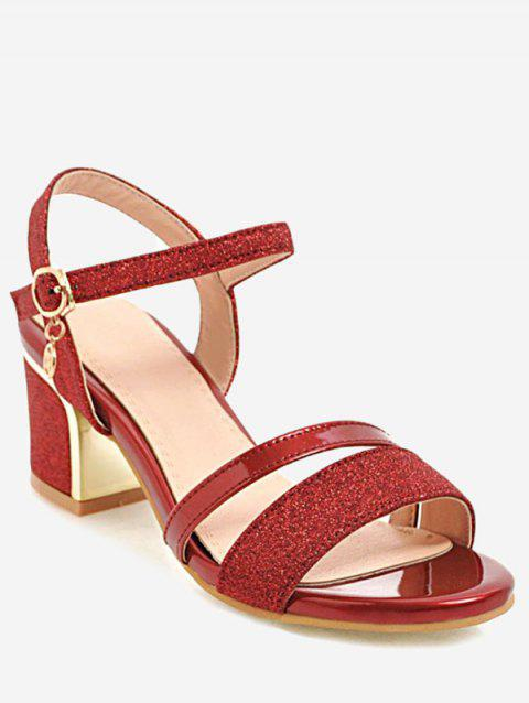Plus Size Buckled Dazzling Glitters Slingback Sandals - RED 43