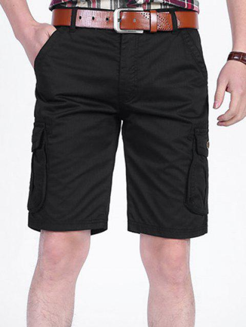 Zipper Fly Pockets Cargo Shorts - BLACK 40