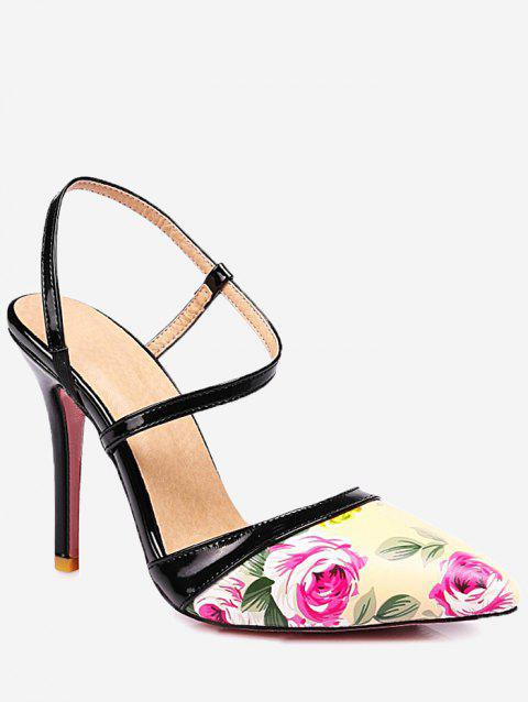 Plus Size Casual Floral Stiletto Heel Sandals - CORNSILK 41