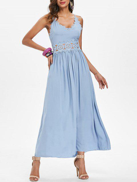 Spaghetti Strap Lace Crochet Maxi Dress - BLUE GRAY XL
