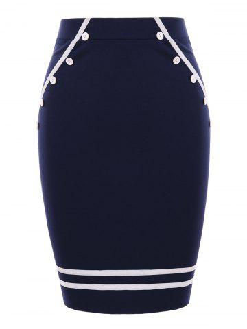Two Tones Pencil Skirt with Buttons