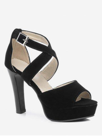 aa31a29e18be Plus Size Platform Peep Toe Cross Strap Sandals