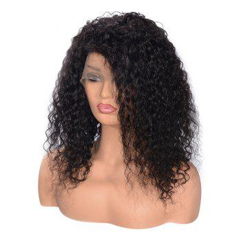 Free Part Shaggy Curly Lace Front Human Hair Wig - BLACK 14INCH