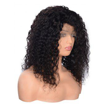 Free Part Shaggy Curly Lace Front Human Hair Wig - BLACK 10INCH