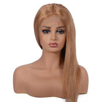 Short Center Parting Straight Human Hair Lace Front Wig - LIGHT BROWN 10INCH