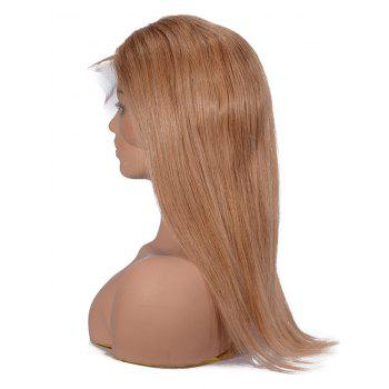 Short Center Parting Straight Human Hair Lace Front Wig - LIGHT BROWN 12INCH