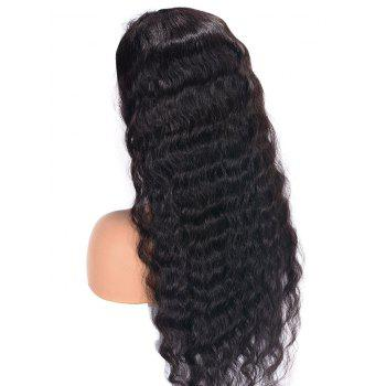 Medium Free Part Water Wave Lace Front Human Hair Wig - NATURAL BLACK 12INCH