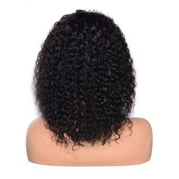 Free Part Shaggy Curly Lace Front Human Hair Wig - BLACK 12INCH