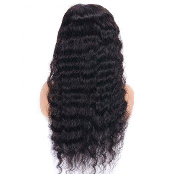 Medium Free Part Water Wave Lace Front Human Hair Wig - NATURAL BLACK 16INCH