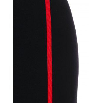 Spaghetti Strap Contrast Trim Bodycon Dress - BLACK 2XL