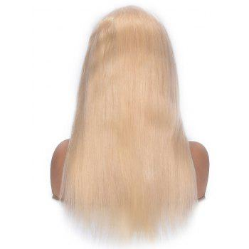 Free Part Straight Human Hair Lace Front Wig - BLONDE 10INCH