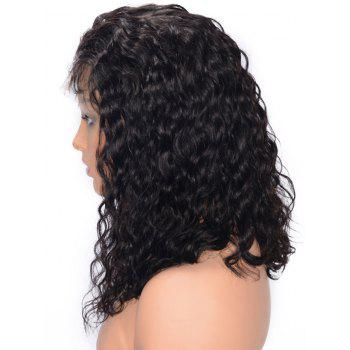 Free Part Curly Lace Front Human Hair Wig - BLACK 16INCH