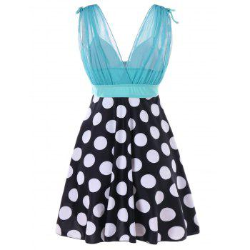 Polka Dot Skirted Tankini - BABY BLUE XL