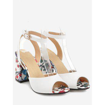 Plus Size Ankle Strap Chunky Heel Floral Sandals - WHITE 43