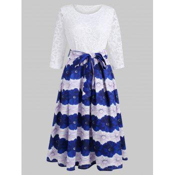 Lace Panel Floral Flared Dress - MILK WHITE S