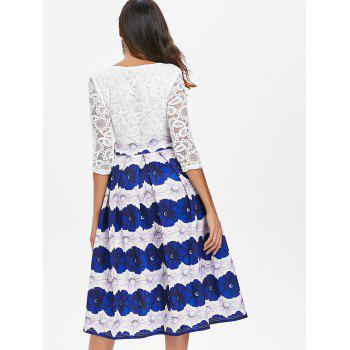 Lace Panel Floral Flared Dress - MILK WHITE L