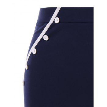 Two Tones Pencil Skirt with Buttons - MIDNIGHT BLUE L