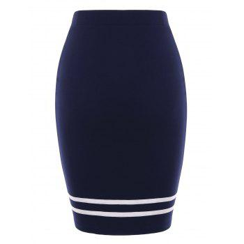 Two Tones Pencil Skirt with Buttons - MIDNIGHT BLUE XL