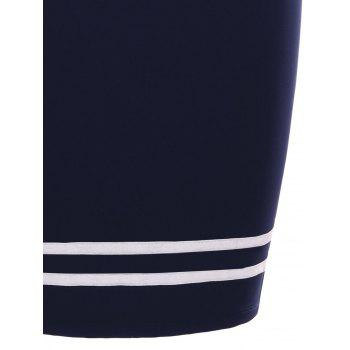 Two Tones Pencil Skirt with Buttons - MIDNIGHT BLUE 2XL