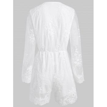 Lace Long Sleeve Romper - WHITE S