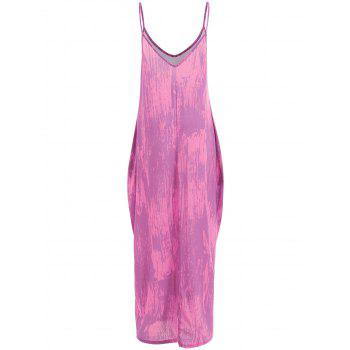 Color Block Floor Length Dress - PURPLE S