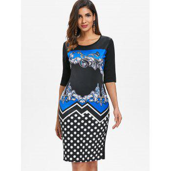 Printed Sheath Dress - BLUE ORCHID S