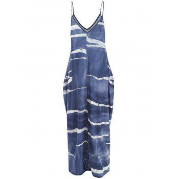 Color Block Floor Length Dress - SLATE BLUE S